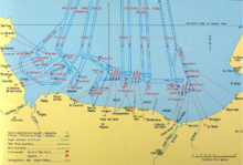Map Of The Invasion Area Showing Channels Cleared Mines Location Vessels Engaged In Ardment And Targets On S