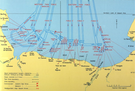Map of the invasion area showing channels cleared of mines, location of vessels engaged in bombardment, and targets on shore Naval Bombardments on D-Day.png