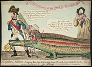 An engraved print showing a man in a distinctive naval uniform dragging two crocodiles with human heads. To the right of the image a man in a peasant's smock cheers approvingly.
