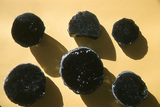 Neolithic mirrors of obsidian excavated by James Mellaart and his team in Çatalhöyük.