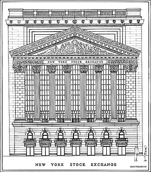 New York Stock Exchange - Front Elevation of the New York Stock Exchange.