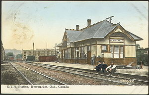 Newmarket GO Station - Postcard of the GTR station in 1910