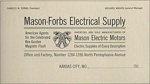 News Gothic - A sample image for News Gothic Condensed, made by ATF in 1912. The design is a letterhead for an electrical equipment company, showing News Gothic's clean, modern image.