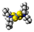 Nickel(II) dibutylcarbamodithioate complex spacefill.png