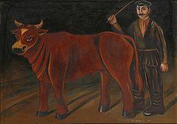 Niko Pirosmani, Farmer with a Bull(1916), Centro M.T. Abraham