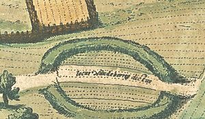 Nonnebakken - Detail from the 1593 engraving, showing remains of the former ring fort of Nonnebakken.