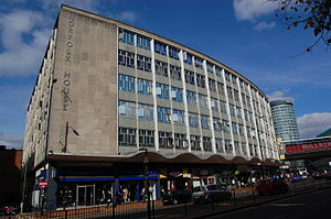 A4400 road - Norfolk House (1959), by Archibald Hurley Robinson, on Smallbrook Queensway.