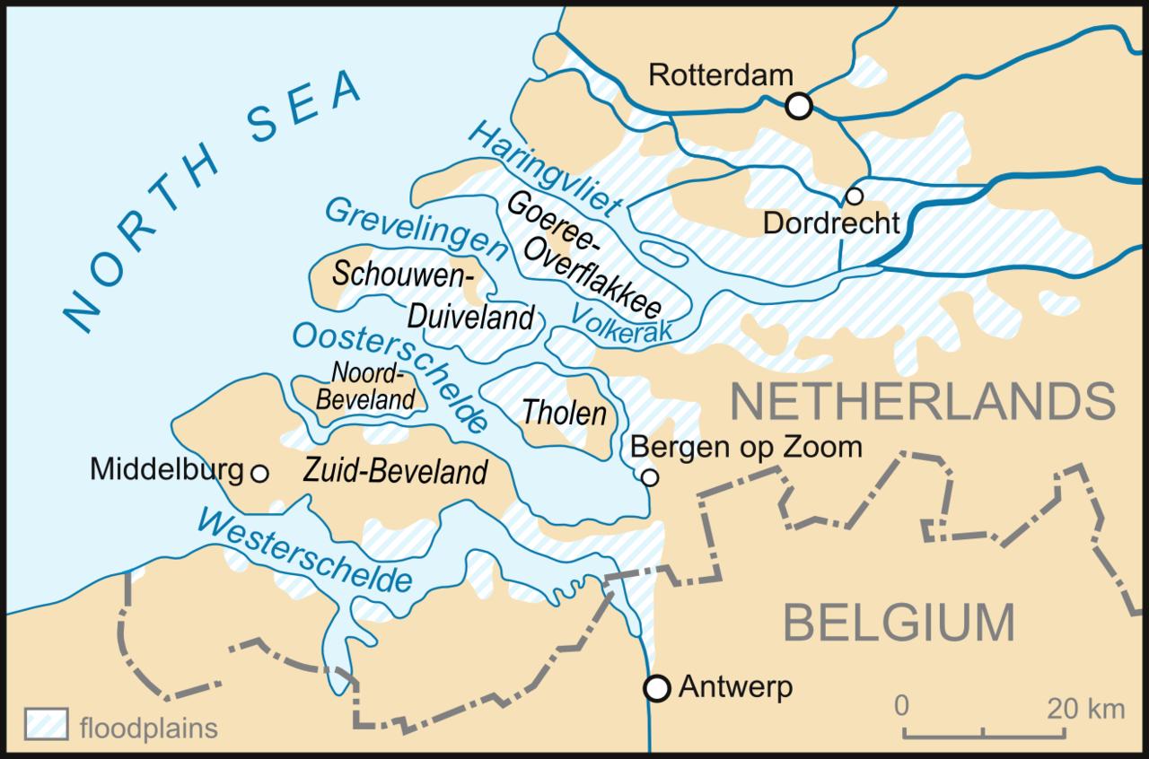 השטחים המוצפים בהולנד מסומנים בכחול מקווקו