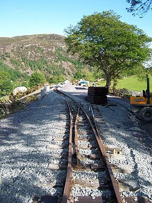 Beddgelert railway station - A southerly view of Beddgelert Station during construction, 2007