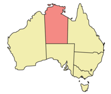 Map of Australia with  Bắc Úc highlighted