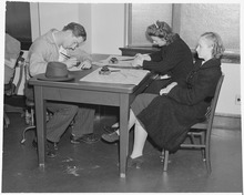 Oakland, California. Junior Employment Service. Filling out applications, the girls want part time work in domestic service. 1940