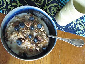 no: Havregryn med blåbær og mandelmjølk