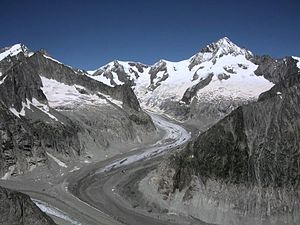 Aletschhorn - The Aletschhorn (right) from the Oberaletsch Glacier