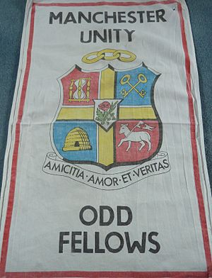 Independent Order of Oddfellows Manchester Unity - Coat of arms along with the triple links symbol and the motto.