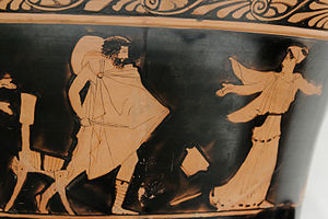 Odysseus chasing Circe. Lower tier of an Attic...
