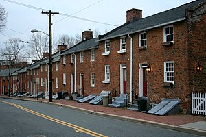 Oella, Maryland - Long Brick Row in the center of Oella, Maryland