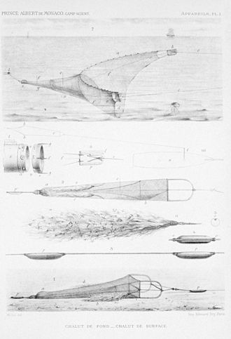 """Trawling - Nets for trawling in surface waters and for trawling in deep water and over the bottom. Note the """"tangles"""" with ensnared marine life"""