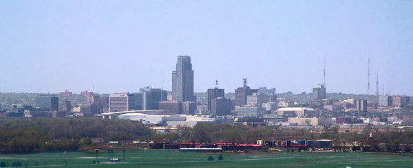 Omaha's skyline as seen from the northeast in Iowa