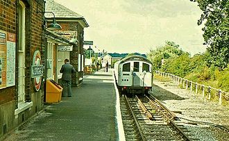 Ongar railway station - London Underground train calls at the station in 1980