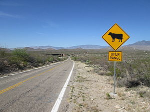 Open range - An open range sign along the Interstate 10 Frontage Road in southern Arizona.
