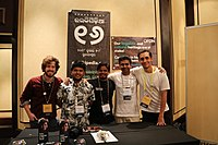 Organizers of booth by Odia Wikimedians User Group, OFDN and Wikitongues at Wikimania 2018 (42972549374).jpg