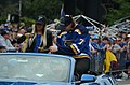 Oskar Sundqvist handing out beads during the 2019 Stanley Cup parade.jpg