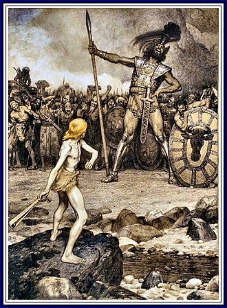 David and Goliath, a colour lithograph by Osmar Schindler (c. 1888) Osmar Schindler - David und Goliath.jpg
