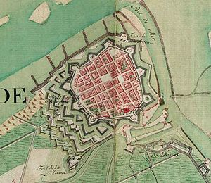 Ostend - Ostend on the Ferraris map (around 1775)