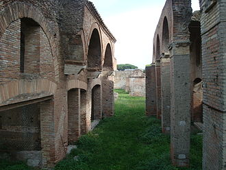 Ruined warehouses in Ostia; an ancient Roman city OstiaWarehouses.JPG
