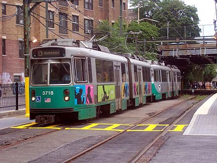 An MBTA Green Line train in Boston Outbound Green Line train leaving Fenway station, August 2005.jpg
