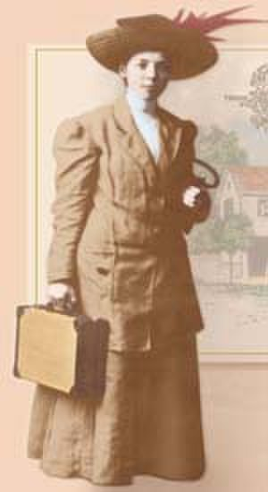 Persis Foster Eames Albee - PFE Albee 1886, dressed professionally as saleslady.