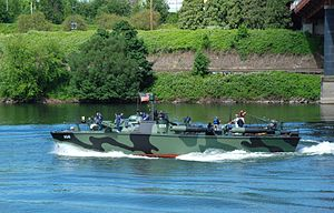 Motor Torpedo Boat PT-658 - Image: PT 658 near the Broadway Bridge in Portland, Oregon (2012)