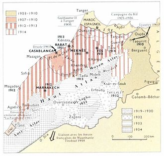 Zaian War - Map depicting the staged pacification of Morocco through to 1934