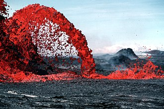 This parabola-shaped lava flow illustrates the application of mathematics in physics--in this case, Galileo's law of falling bodies. Pahoeoe fountain original.jpg