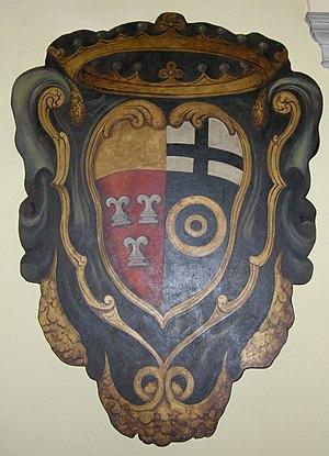 Frescobaldi - Impalement of the coat of arms of Frescobaldi (left) and Albizi (right), probably created upon the wedding of Angiolo Frescobaldi and Leonidas degli Albizzi (19th century)