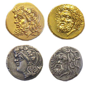 Panticapaeum -  Representations of Pan on 4th century BC gold and silver Pantikapaion coins