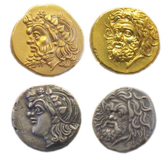 Pan (god) - Representations of Pan on 4th-century BCE gold and silver Pantikapaion coins.