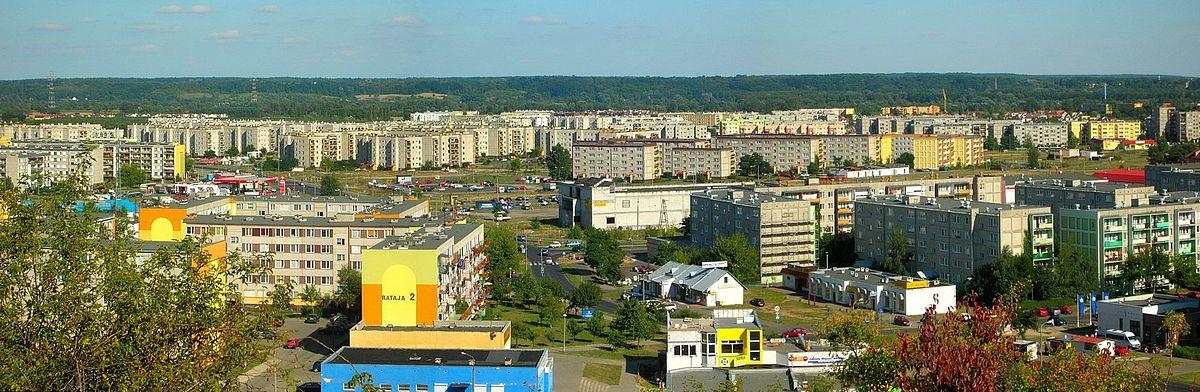 Polski: Wschodnia część dzielnicy Fordon, leżącej nad Wisłą. W tle wschodnie zbocze Doliny Dolnej Wisły