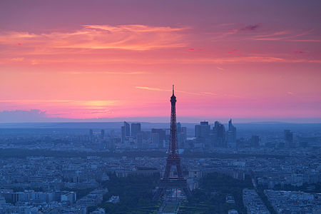 Paris view from above from the Montparnasse Tower at sunset.