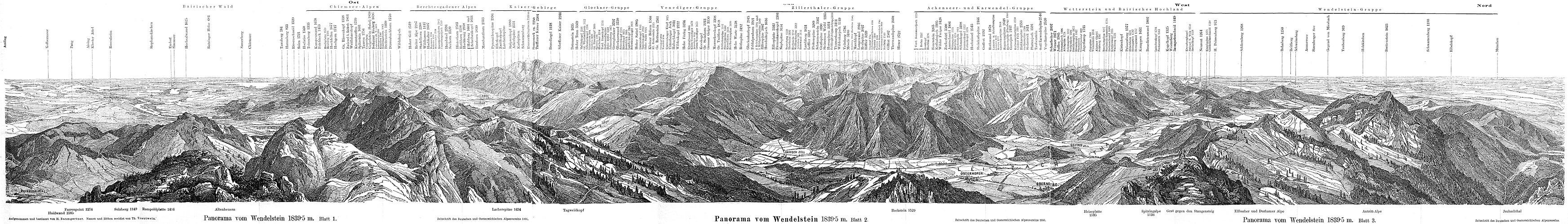 Panorama vom Wendelstein im Jahr 1886