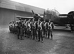 Parachute troops on parade in front of a Whitley bomber at RAF Ringway, Manchester, January 1941. H6527.jpg