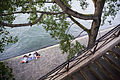 Paris - A couple relaxing by the Seine River - 3117.jpg