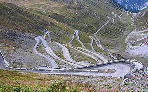 1994 Giro d'Italia - A sample of the 48 hairpin turns near the top of the eastern ramp of the Stelvio Pass, the Cima Coppi (highest elevation point) of the 1994 Giro.
