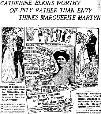 Prince Luigi Amedeo, Duke of the Abruzzi - Past headlines and a photo from the St. Louis Post-Dispatch of October 18, 1908, concerning the Amedeo-Elkins romance, with three drawings by journalist Marguerite Martyn