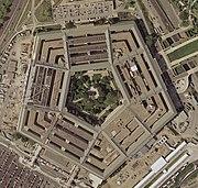 Photo satellite en 2002, on voit la reconstruction de la partie détruite le 11 septembre 2001