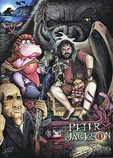 Illustrazione di Peter Jackson, circondato da personaggi dei suoi film.