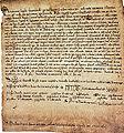 Petronila, reina de Aragón y condesa de Barcelona, abdica en su hijo Alfonso-18 de julio de 1164.jpg