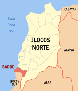Map of Ilocos Norte showing the location of Badoc