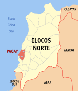Map of Ilocos Norte with Paoay highlighted