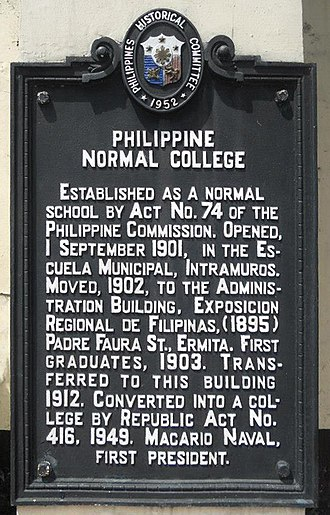 Philippine Normal University - The historical marker placed at the PNU Main Building.